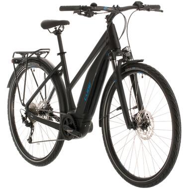 Vélo de Voyage Électrique CUBE TOURING HYBRID ONE 400 TRAPEZ Femme Noir/Bleu 2020